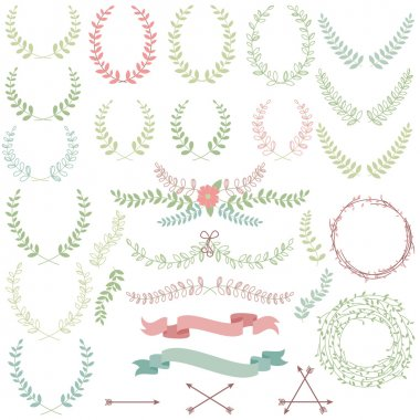 Vector Collection of Laurels, Floral Elements and Banners