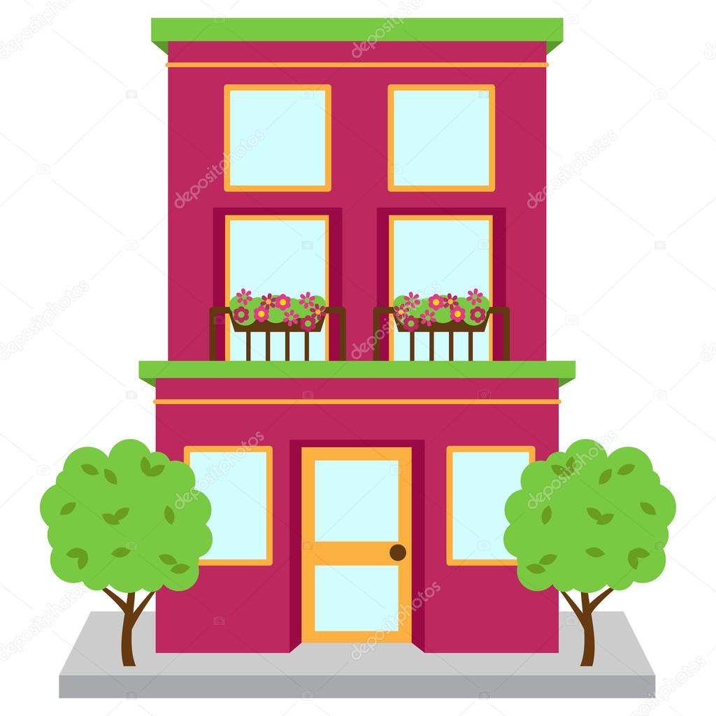 Cartoon kitchen with cabinets and window vector art illustration -  Picture Apartment Building Illustration
