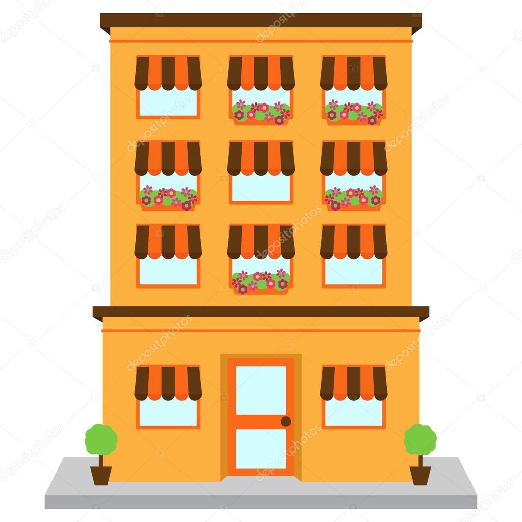 Vector Apartment Building On Street Stock Vector C Pinkpueblo