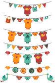 Fotografie Vektor-Reihe von Baby Boy Motto Wäscheleinen mit Störche und Vögel