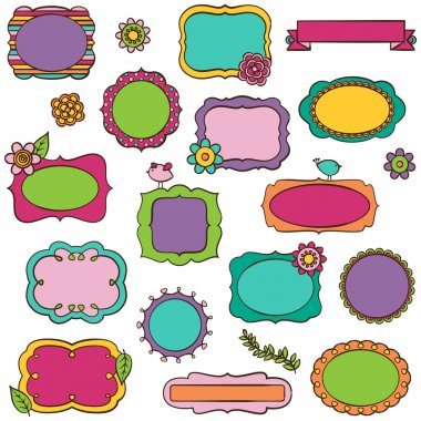 Doodle Vector Collection of Bright Frames and Borders
