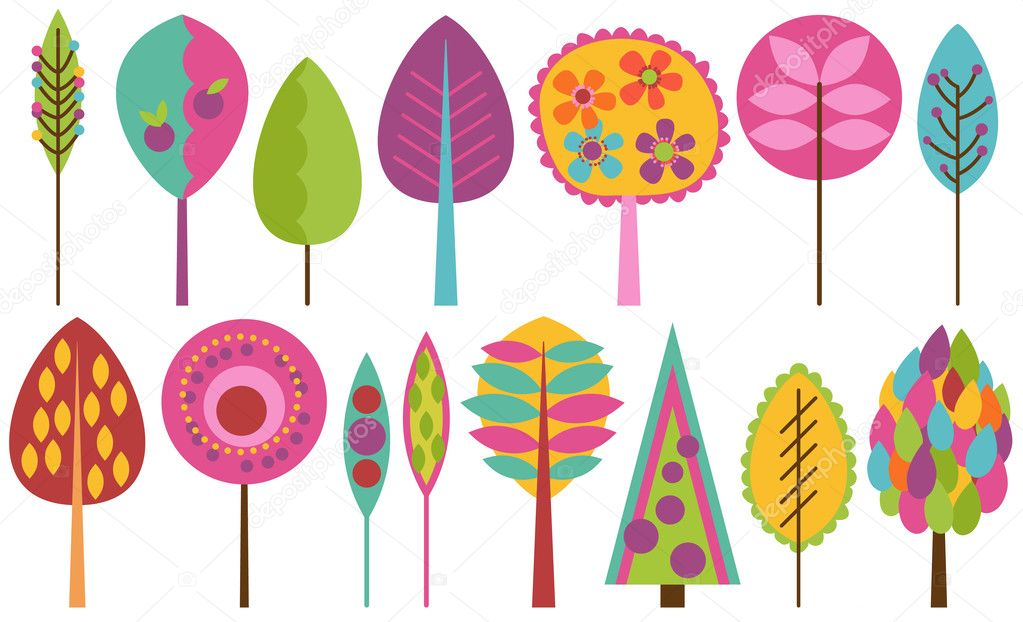 Vector Collection of Funky Retro Stylized Trees