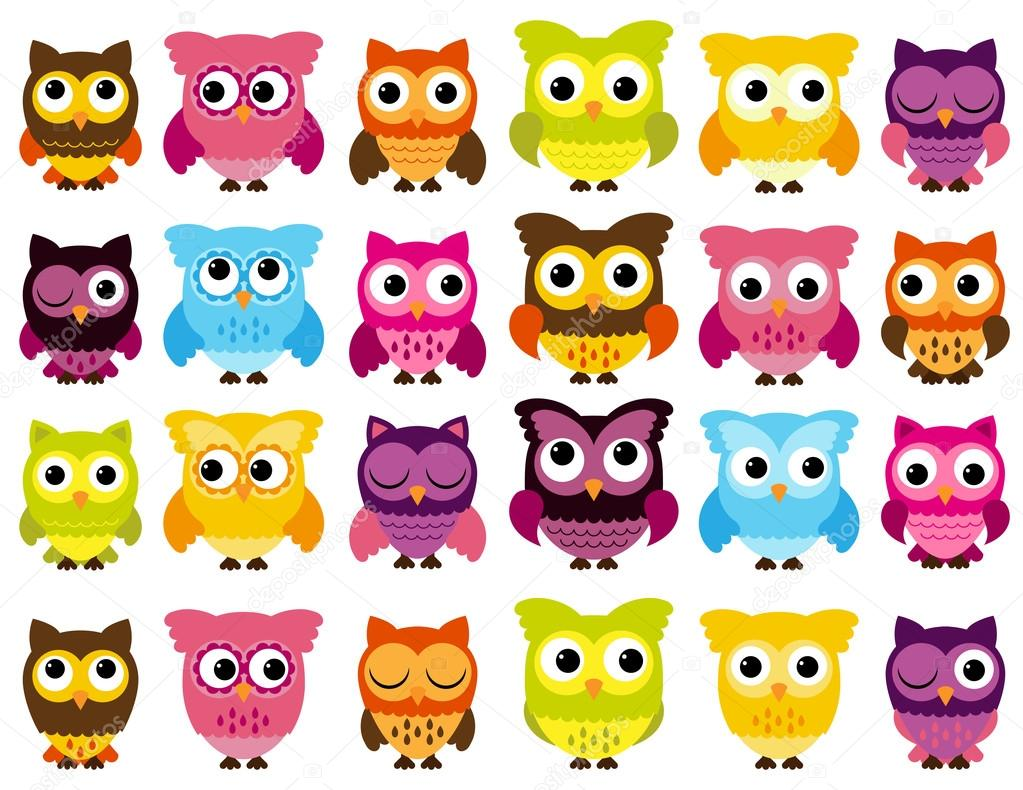 Vector Collection of Cute and Colorful Owls