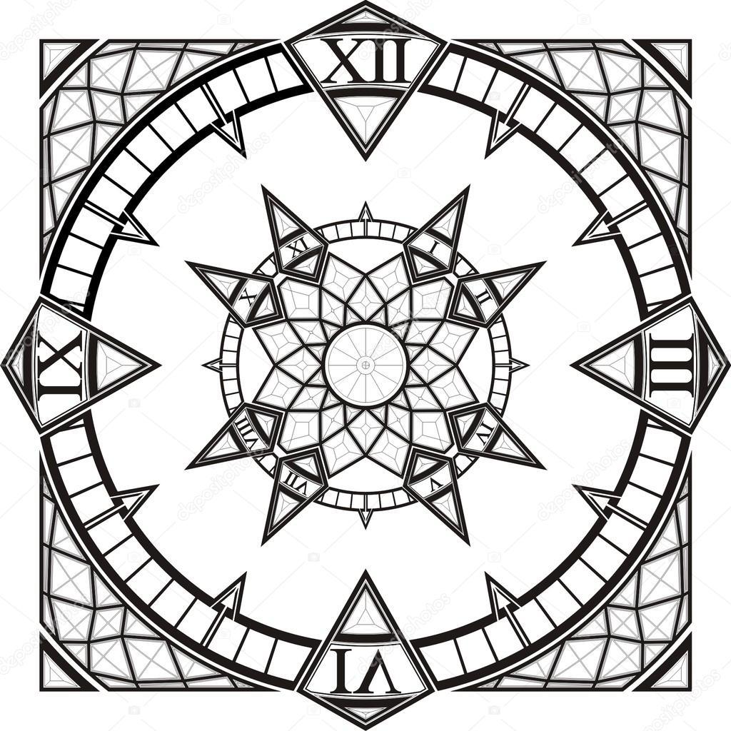 Brújula Vector De Reloj Reloj Tatuaje Gótico Vector De Stock