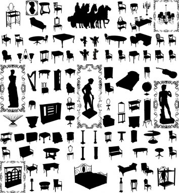 Antique Furniture And Objects Hundred Vector