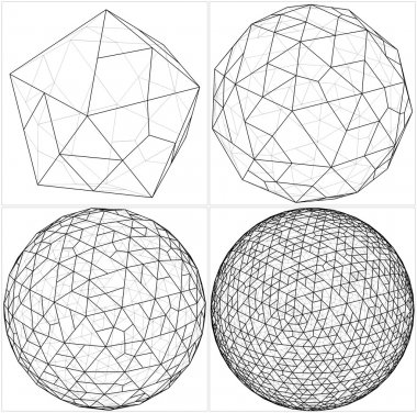 From Icosahedron To The Ball Sphere Lines Vector