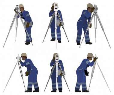 Senior Land Surveyor Working With Theodelite Vector