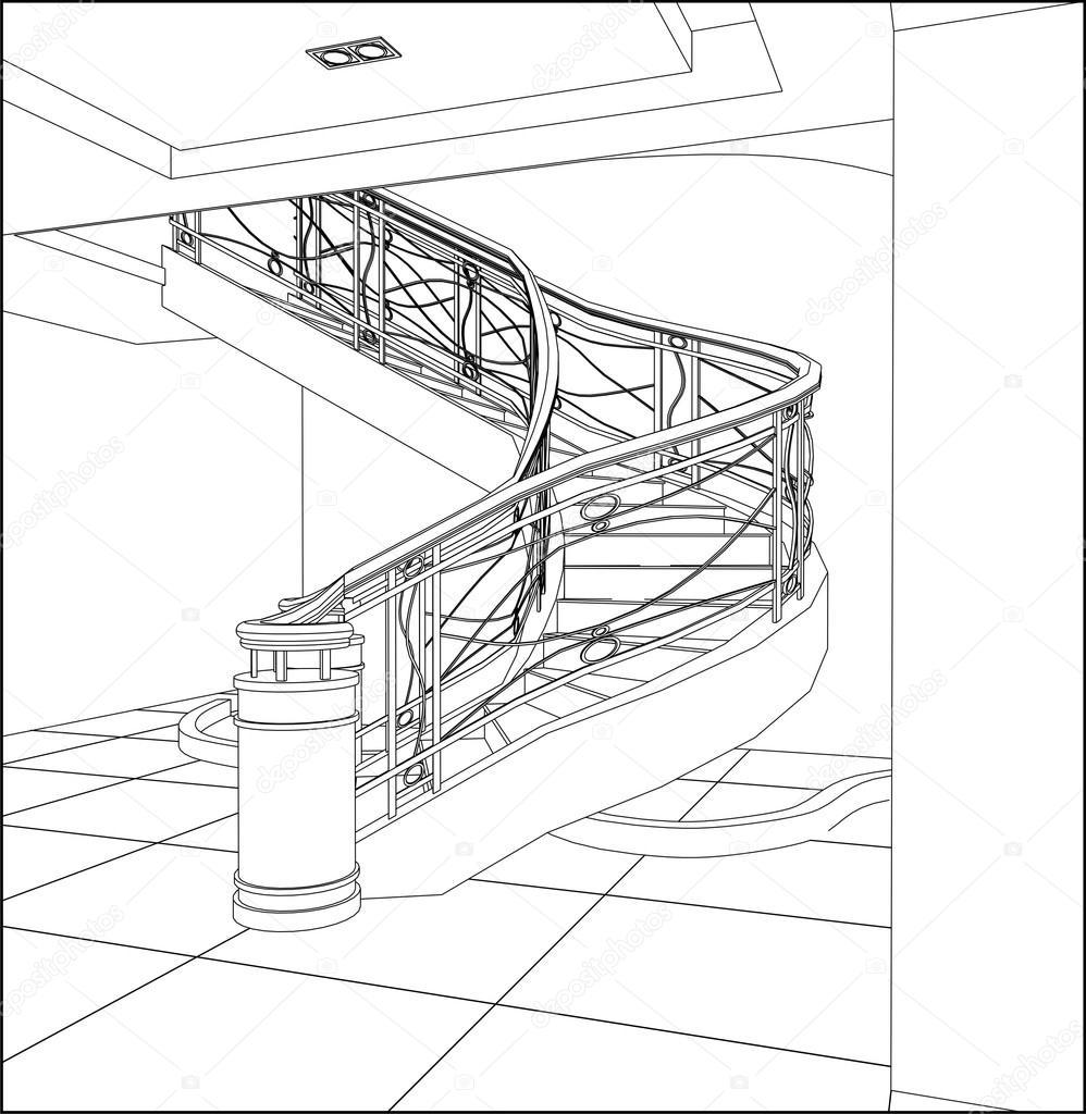 vector espiral escaleras aisladas ilustracin u vector de nesacera
