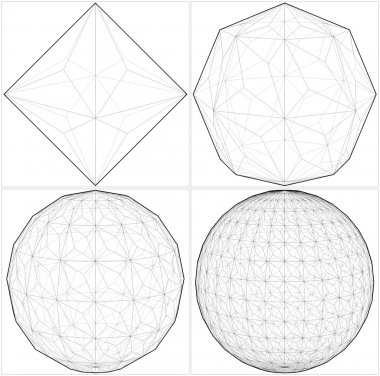 From Octahedron To The Ball Sphere Lines Vector.