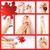 Collage aus mehreren Fotos für die Schönheitsindustrie (rote Maniküre und