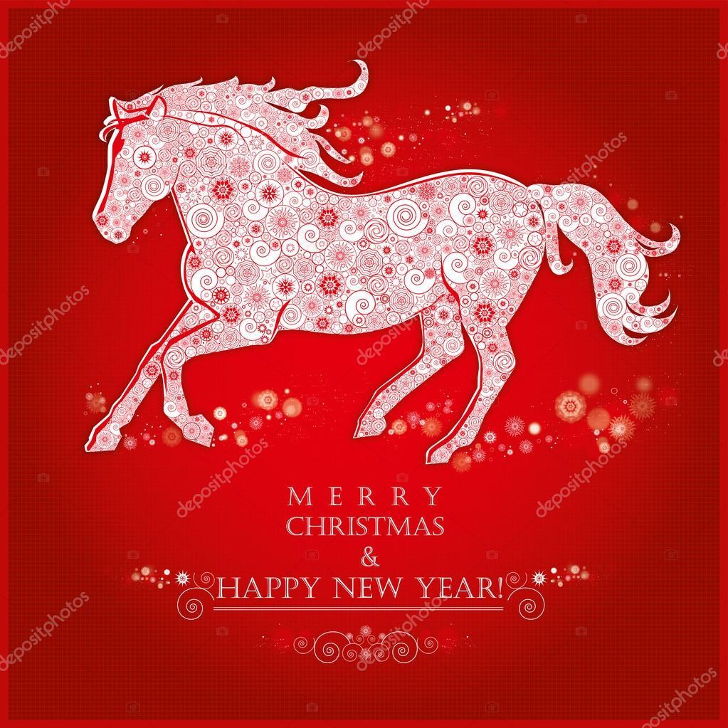 Frohe Weihnachten Pferd.Laufenden Pferd Pferd Von Schneeflocken Stockvektor Mamalu