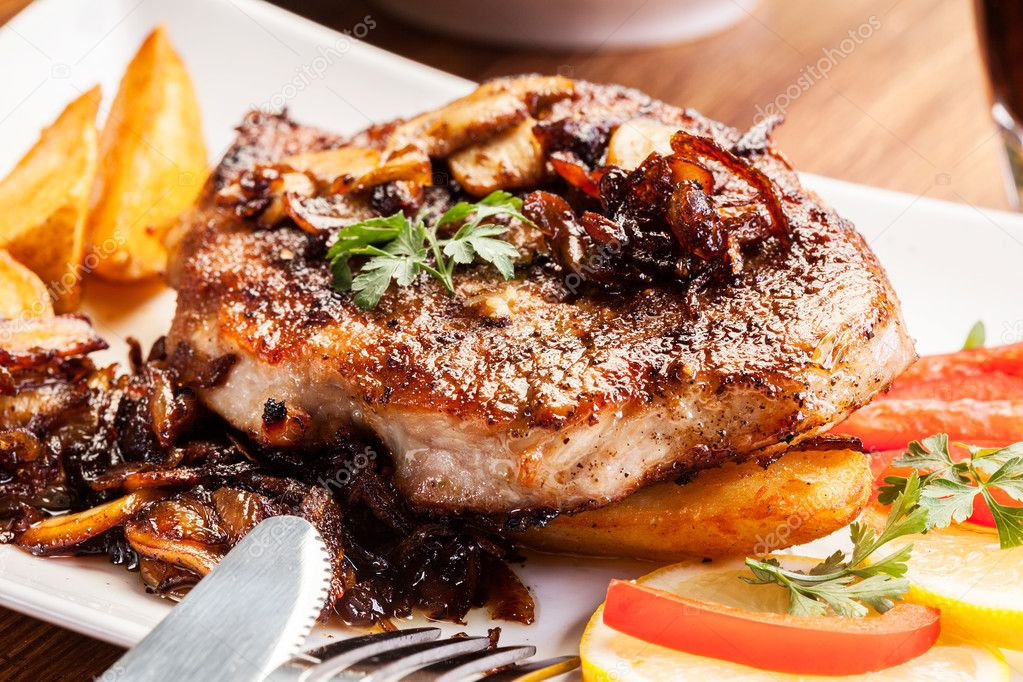 Fried Pork Chop With Mushrooms And Chips Stock Photo 47658833