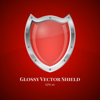 Security shield symbol icon vector illustration on red background stock vector