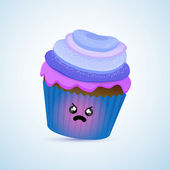 Angry cupcake White bacground.