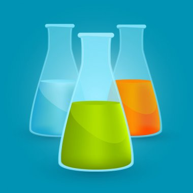 Three flasks with different chemical solutions. Vector illustration stock vector