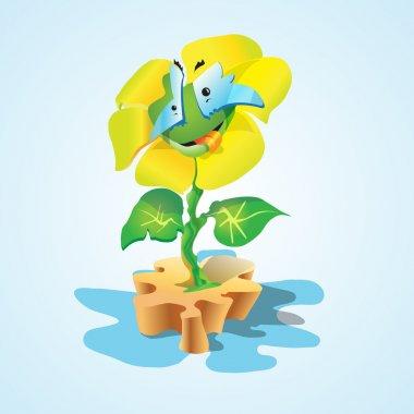 Vector illustration of a cartoon flower. stock vector