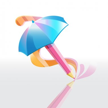 Vector illustration of a pencil umbrella. stock vector