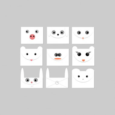 Envelopes with faces of animals. Vector illustration stock vector