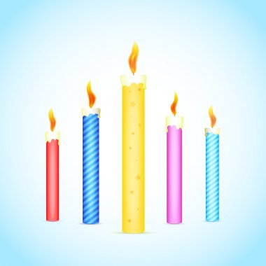 Colorful burning candles. Vector illustration stock vector