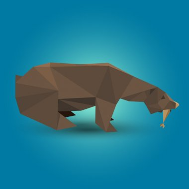 Vector illustration of origami bear. stock vector