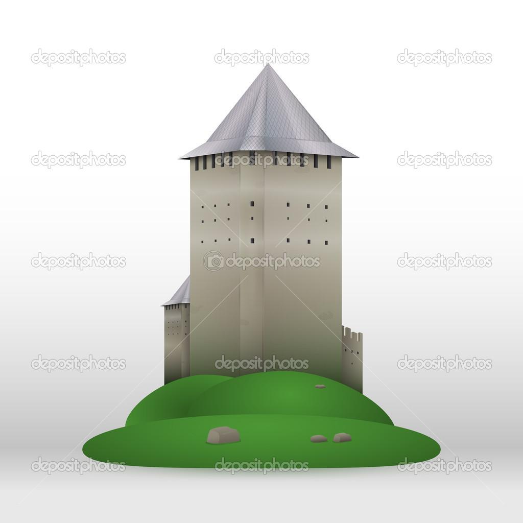 Vector castle on green hill. stock vector