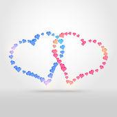 vektorové pozadí se dvěma srdce.