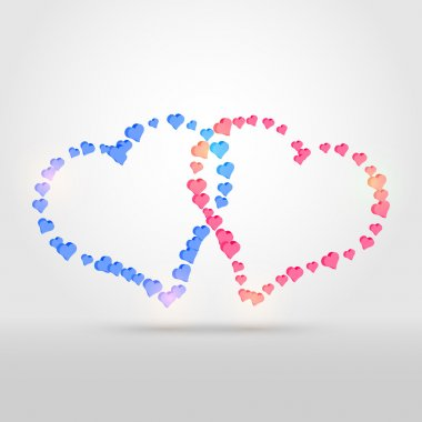 Vector background with two hearts. stock vector
