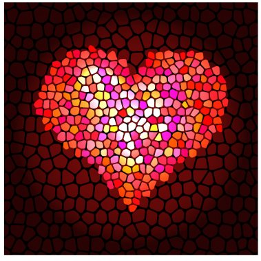 Background with mosaic heart. stock vector