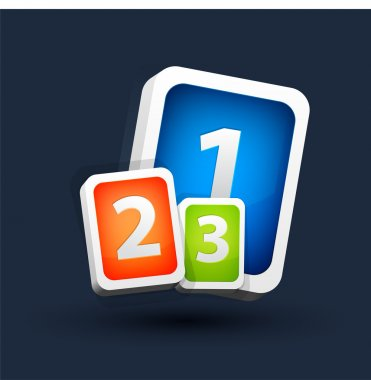 One two three vector icons. stock vector