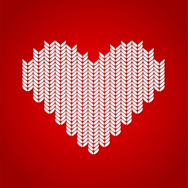 Vector background with knitted heart. stock vector