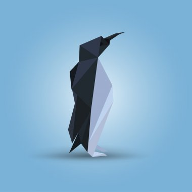 Vector illustration of origami penguin.