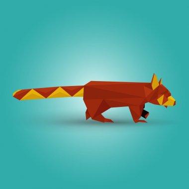 Vector illustration of origami red panda. stock vector