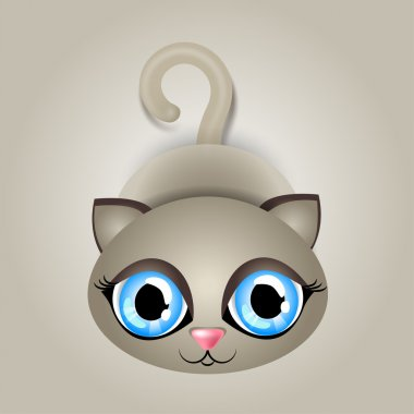 Vector illustration of a cat with big blue eyes stock vector