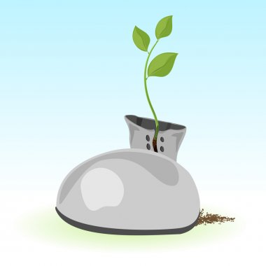 Vector illustration of a green plant inside a boot. stock vector