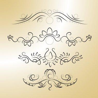 Vector calligraphic elements. Vector illustration. stock vector