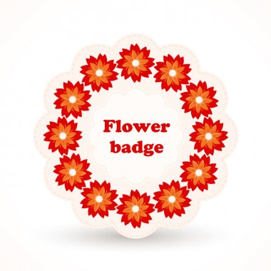 Vector badge with flowers. stock vector