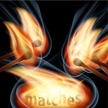 Burning matches on black background. Vector illustration. stock vector
