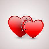 Dvě srdce s šev. Vektorové ilustrace