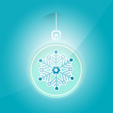 Vector illustration of Christmas ball with snowflake. stock vector