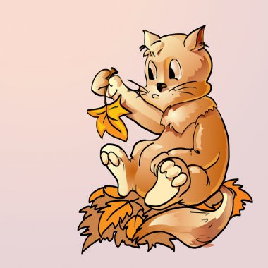 Surprised cat with autumn leaves. Vector illustration. stock vector