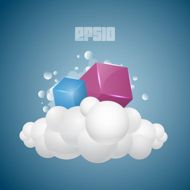 Vector background with cubes on cloud. stock vector