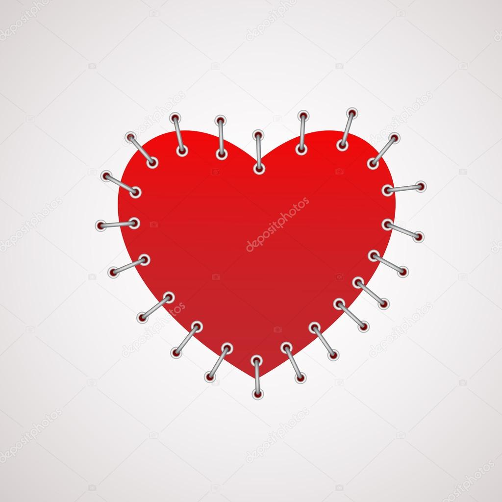 Vector illustration of a heart with seam. stock vector