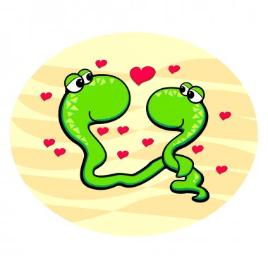 Snakes in love. Vector illustration. stock vector
