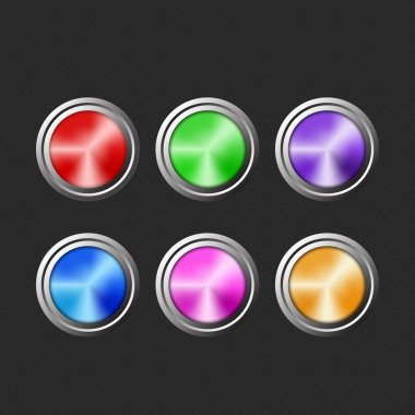 Colored buttons on black background. stock vector