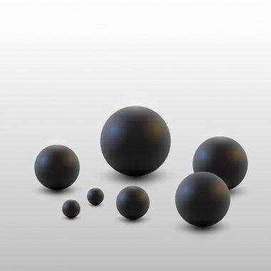 Vector black balls. White bacground. stock vector