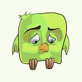 Trauriger grüner Vogel. Vektorillustration.