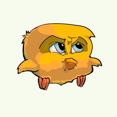 Formidable yellow bird. Vector illustration. stock vector