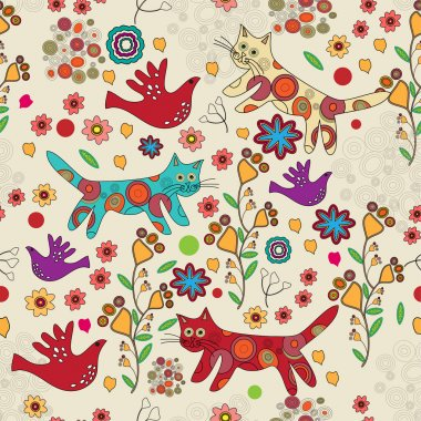 Vector folk background with cats. stock vector