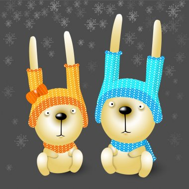 Two christmas rabbits in hats. stock vector
