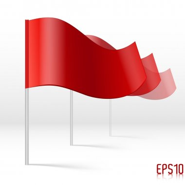 Vector red flags. White bacground. stock vector